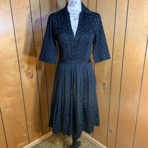 WHBM polka dot v neck fit and flare dress